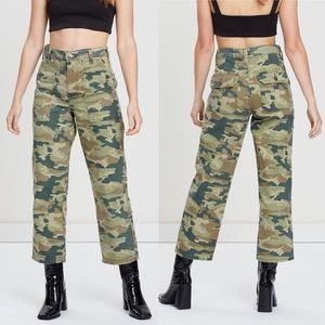 Free People Camo Cropped High Rise Pants NEW